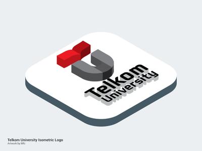 Isometric : Telkom University photoshop logo isometric