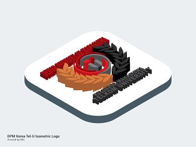 Isometric : DPM Kema Telkom University photoshop logo isometric