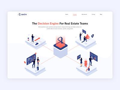 Auctm Website Design web website design user interface ui design typogaphy realestate teams realestate business management branding ui illustration design
