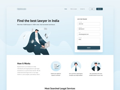 MyAdvocate | Landing page uxui web page advocates illustrator landing page uidesign xd branding vector ui illustration design