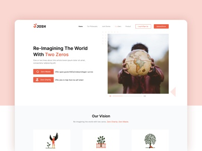 Josh   Landing Page Design zero waste brand minimal josh brand identity web page landing page social help branding ui design ui