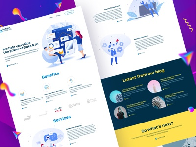 Marketing website design for Big data and AI company flat home page illustrative big data ai home page landingpage ux ui