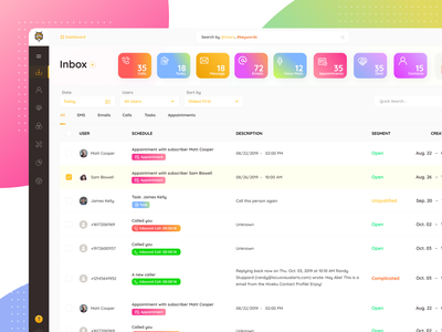 CRM Inbox UI Design dashboard ux ui