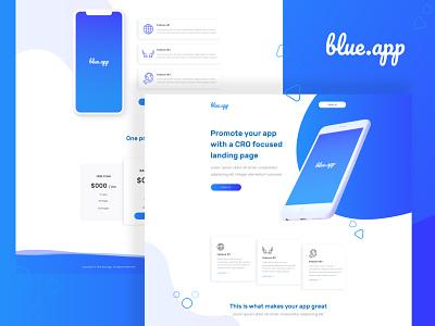 Blue.app branding icon logo website ux minimal web app design ui