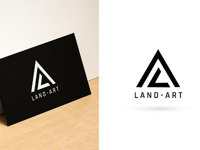 LAND-ART Logo clean typography lettering type flat vector illustration design logo minimal branding