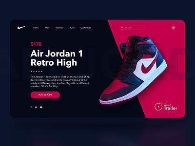 Air Jordan 1 Concept flat minimal illustrator website app web design ux ui