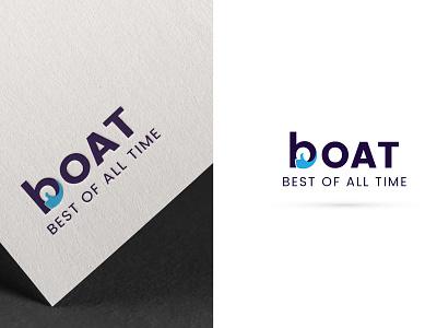 Boat Logo lettering branding type minimal flat icon design illustration vector logo