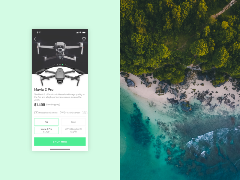 Daily UI #012 - eCommerce Shop (Single Item) mavic 2 pro drone product options product views products offered brand e-commerce 012 dailyui mobile app ui ux
