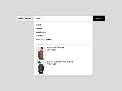 Daily UI #022 - Search typing web design search 022 dailyui 001 shop app jackets ecommerce ui ux