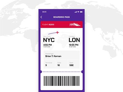 Daily UI #024 - Boarding Pass flight airplane air ticket boarding pass 024 dailyui mobile app ui ux
