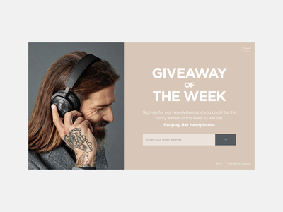 Daily UI #026 - Subscribe model popup headphones email form subscribe 026 dailyui web design ui ux