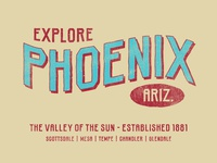 Phoenix, Arizona lettering geometric slab serif industrial distressed rough hand drawn typography typeface type font
