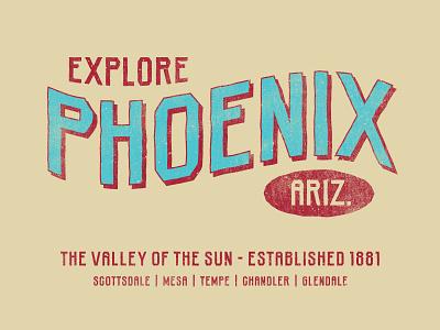Phoenix, Arizona lettering geometric slab serif industrial distressed rough hand drawn typography typeface type font