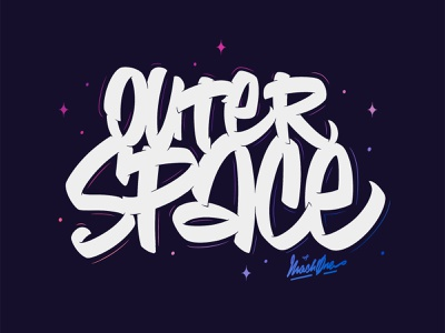 Outer Space Graffiti Lettering spaceship handstyle calligraffiti graffit procreate lettering ipad cosmology black hole heat death cosmos