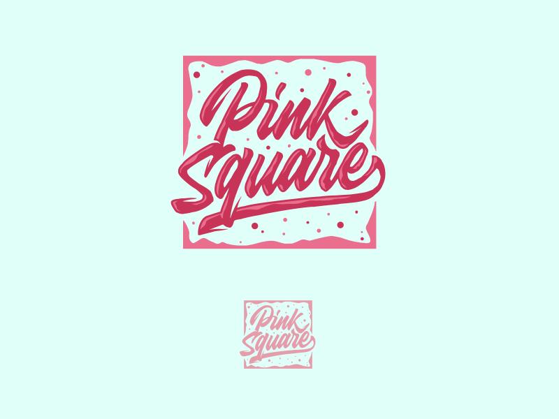 Pink Square Logo logo hand-lettering