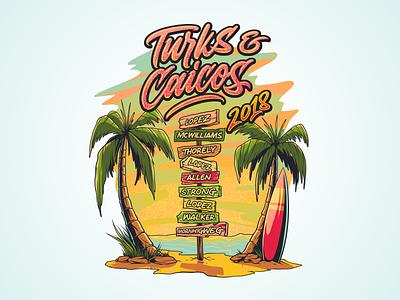 Turks Caicos 2018 surfing sunset summer beach holiday tshirt-design