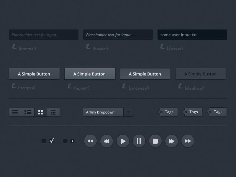 (Free PSD) UI Set #1 design ui dark form button dropdown controls views tags web website freebie