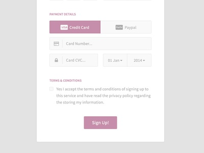(Free PSD) Purple Sign Up Form - Payment Details