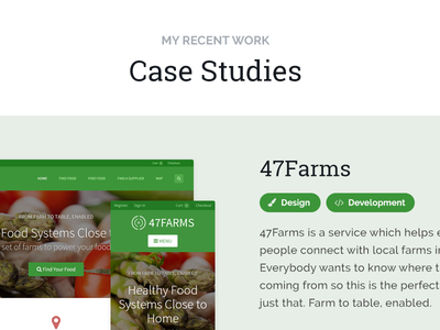 Colored Work portfolio tags button green web design work