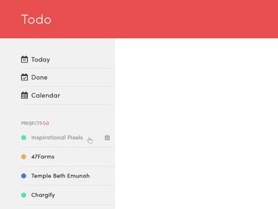 Todo App Ideas webapp sidebar todo list red app todo
