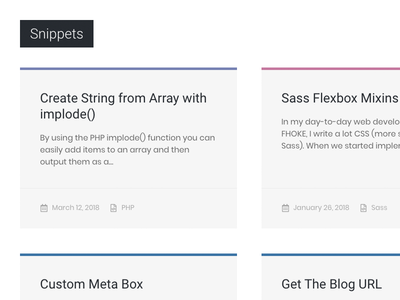Snippet Cards snippets web design design code highlights css grid cards