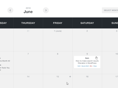 Calendar hover grey dark interaction wordpress web design design ui calendar