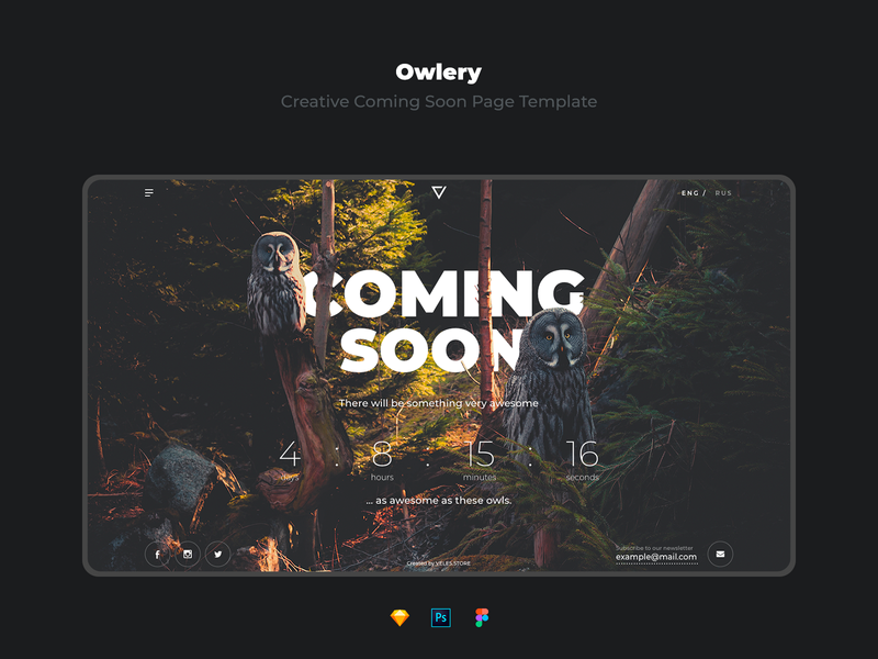owlery creative coming soon page template by alexandr gorbatov
