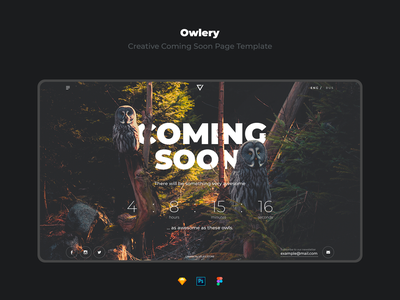 Owlery - Creative Coming Soon Page Template buy dowload template templates coming soon page coming soon comingsoon typography dark webdesign design fullscreen main page landing page flat website web interface ux ui