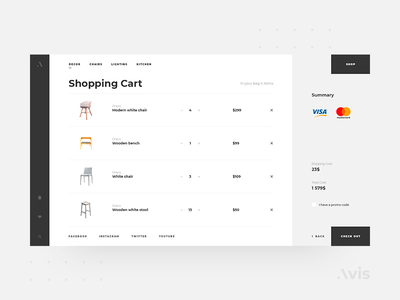 Shopping cart page template | Avis UI Pack