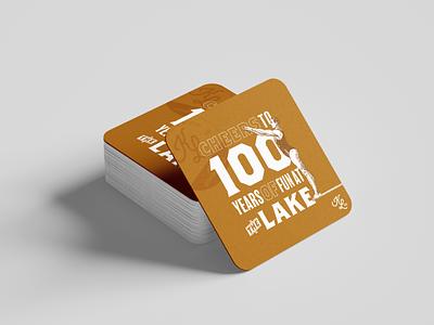 100 years of fun illustration coaster mockup centennial 100 years typography design