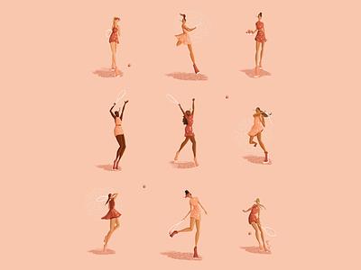 tennis girls icon digital design fashion design color fashion illustration sport fashion illustration procreate