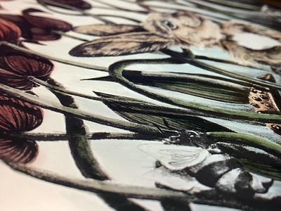 Oblivious ipad digital color floral bunny design illustration digital procreate