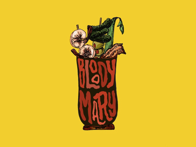 Bloody Mary drink color procreate design digital illustration hand drawn type type