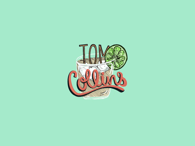 Tom Collins cocktail illustration type procreate gin digital design color