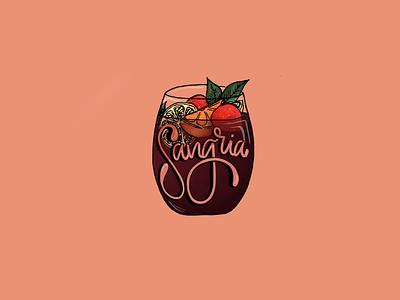 Sangria color illustration drink cocktail design type digital