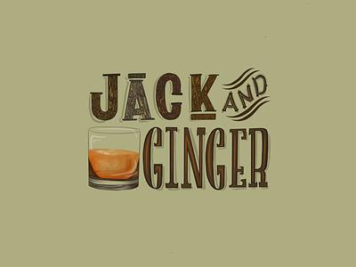Jack & Ginger procreate ipad pro type illustration hand lettering lettering cocktail serif green color digital