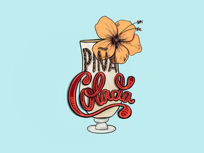 Piña Colada series drink color procreate lettering type digital