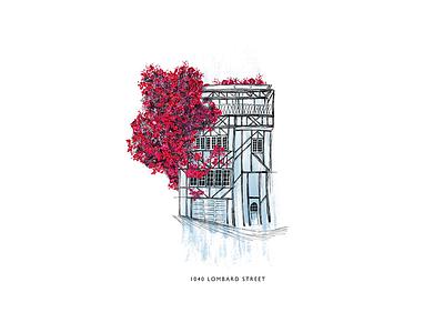 1040 Lombard Street procreate sketch house san francisco architecture design illustration digital
