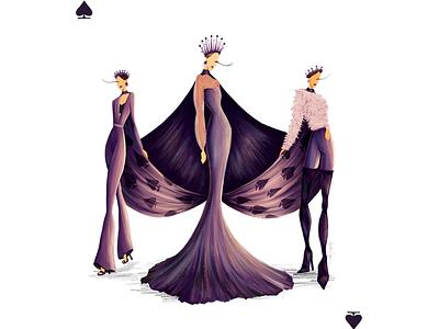 Queen of Spades digital illustration fashion illustration queen of spades queen playing card purple color design fashion