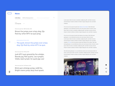 Intranet Concept - News page minimal ux ui intranet website digital component design news newsfeed