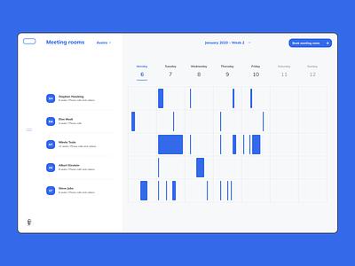 Intranet Concept - Meeting rooms calendar weekly table design website ux ui minimal schedule intranet digital component design
