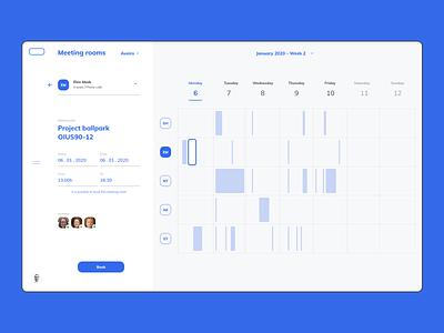 Intranet Concept - How to book a meeting room booking desktop weekly website ux ui table design schedule minimal intranet digital component design tasks calendar
