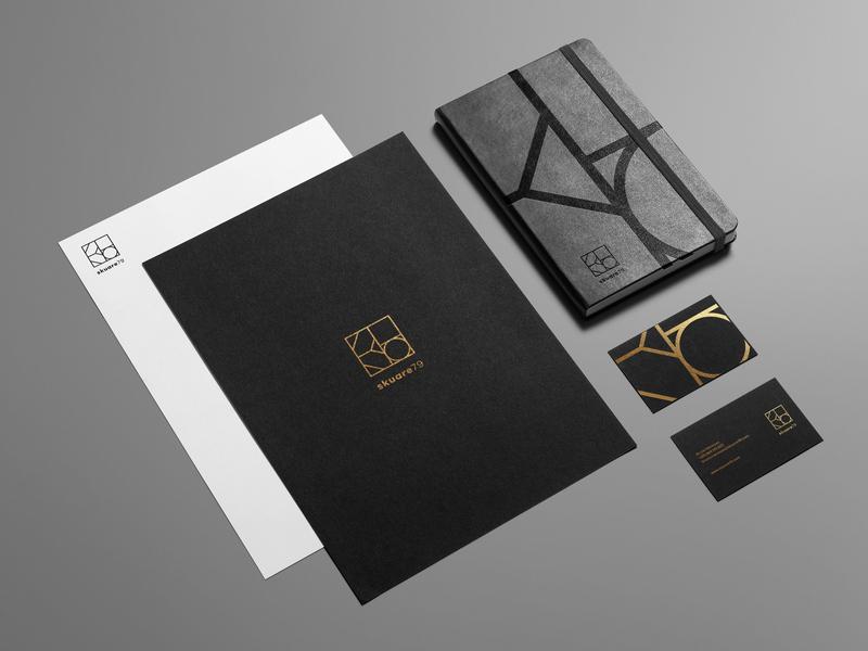 Skuare79 Stationery minimal stationery pantone gold identity branding
