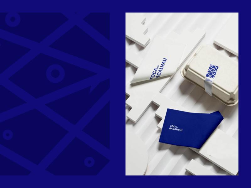 Toca do Bacalhau Identity graphicdesign packaging symbol sea restaurant ocean minimal logotype logo identity food fish branding blue