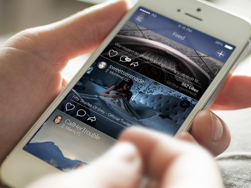Feed application social ios 7 ios 8 iphone 5s apple avatar comment feed ui palme