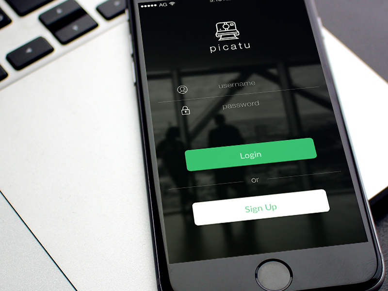 Picatu Login ios 8 iphone 6 login buttons blur sign up apple photos