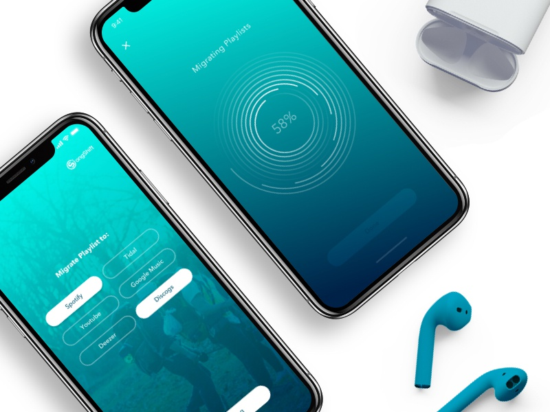 SongShift Migration application mobile ux ui givenchy andregivenchy iphone x airpods music experience interface product design