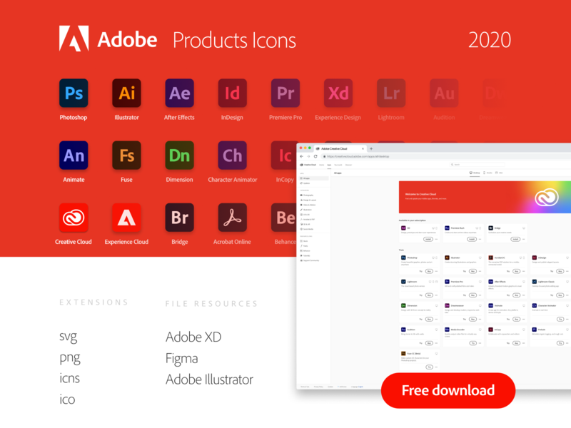 Adobe Products Icons 2020 product icons adobe illustrator photoshop adobe cc 2020 adobe products adobe icons 2020 vector creative cloud free download freebie product icon figma illustrator adobe icons