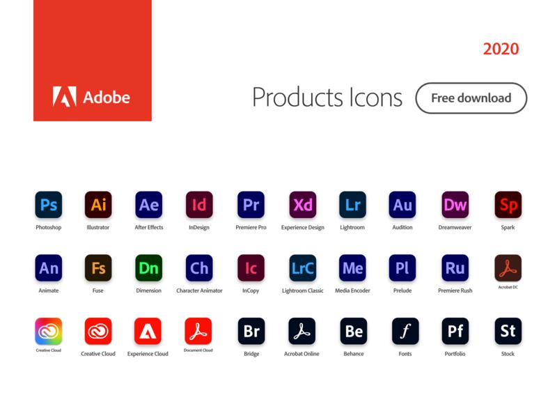Adobe Products Icons 2020 2020 adobe 2020 vector figmadesign adobe xd vector icon free download freebies icons adobe photoshop adobe creative cloud adobexd figma adobe illustrator