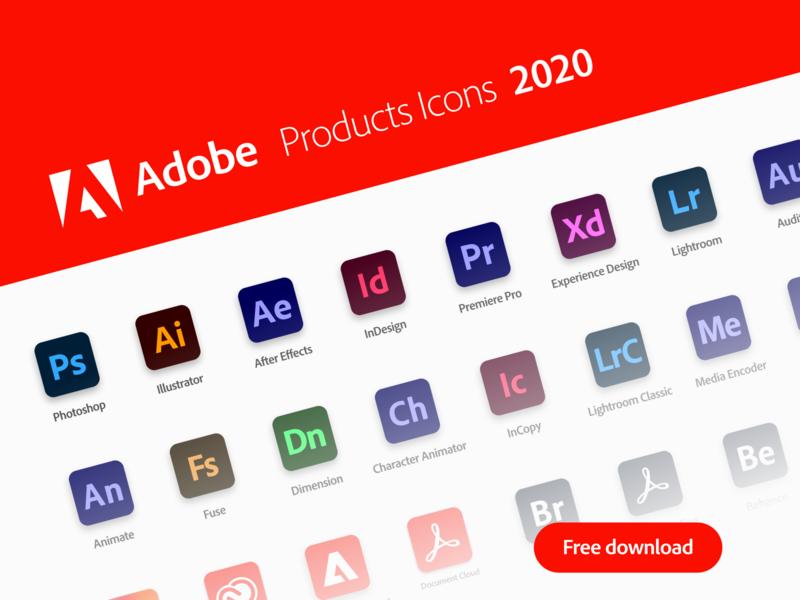 Adobe Products Icons 2020 figma adobe illustrator cc adobe cc 2020 adobe photoshop adobexd photoshop adobe xd adobe cc figma free icons design vector adobe products illustrator